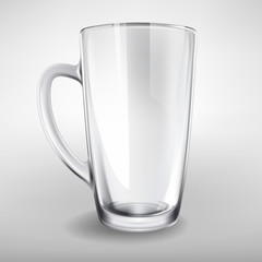 Vector high glass empty realistic cup