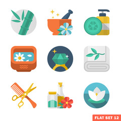 Beauty and Spa Flat icons