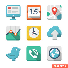 Universal Flat icon set. News, contacts, analitycs and communica