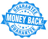 Money back guarantee blue grunge rubber stamp on white