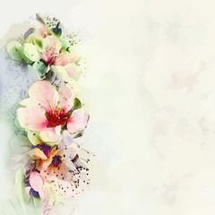 Greeting floral card with bright spring flowers