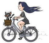 Brunette girl with a black cat on bike.