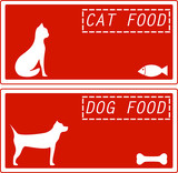 set red background for pet food symbol