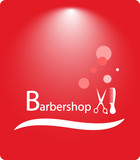 red beautiful background barbershop with shampoo bubbles poster