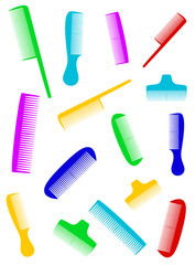 beauty barber background with many colorful comb