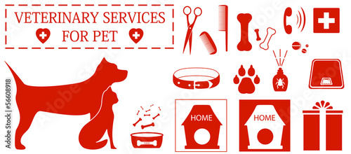 set isolated icon with pet and veterinary services objects