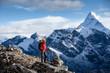 Hiker posing at camera on the trek in Himalayas, Nepal