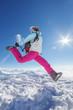 Hiker in winter Caucasus mountains