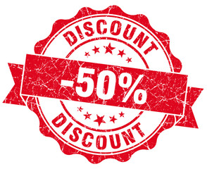 discount 50% red round grunge stamp