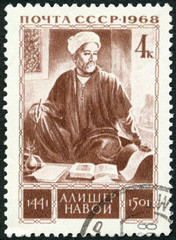 USSR - 1968: shows Alisher Navoi (1441-1501), 525th Birth Anniv.