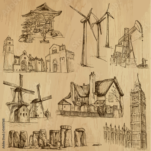 Architecture and places - drawings into vector set 07