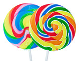 Colorful spiral lollipop isolated on white