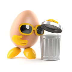 Egg looks in the waste bin