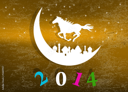 The New Year Horse.Vector abstract background