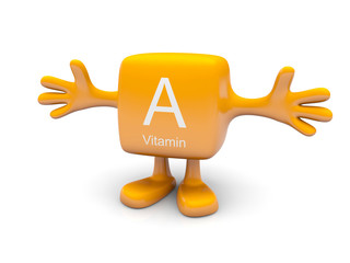 A vitamin symbol on yellow figure