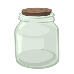 Empty glass jar isolated illustration