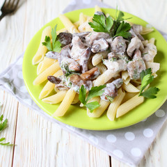 penne pasta with mushrooms and sauce