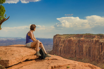 Woman Hiker Resting and Enjoying the Scenery