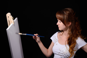 Painter girl with brush