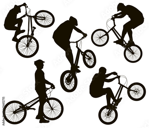 Bike trick detailed vector silhouettes set. Sports design
