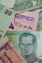Customs stamp Airport Bangkok and Thai money