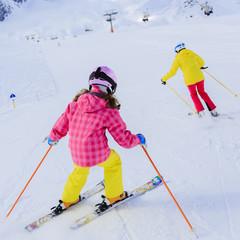 Ski, skiers on ski run - ski lesson