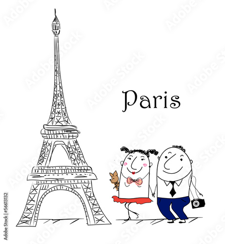 Cartoon Skizze. Paris travel themed.