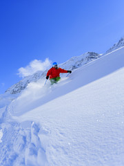 Skiing, Skier, Freeride in fresh powder snow