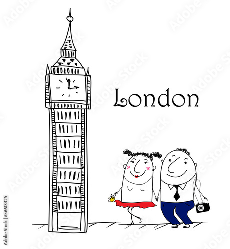 Cartoon Skizze. London travel themed.