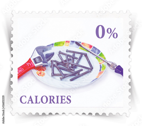 Label for diet products advertisements stylized as post stamp