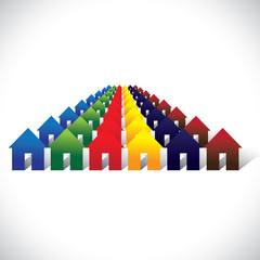 Concept vector community living - colorful houses or homes in ro