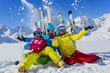 Ski, winter, snow and fun - family enjoying winter