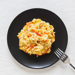 risotto with red pepper, healthy vegan food