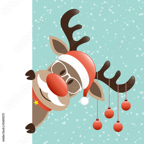 Rudolph Glasses & Beard Christmas Balls Banner Retro