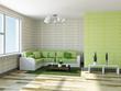 Sofa with green pillows