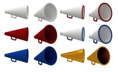 Set of vintage megaphone isolated on white.