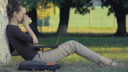 Woman typing on laptop with wireless internet in the park