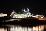night view on kazan kremlin with reflection in river