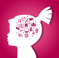 Child head with education icons