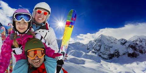 Ski, snow and fun, family enjoying winter vacations
