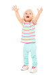 Crying girl with arms up