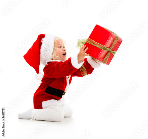 Girl giving a Christmass gift