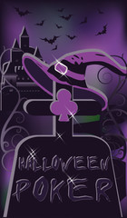 Halloween poker cemetery, vector illustration