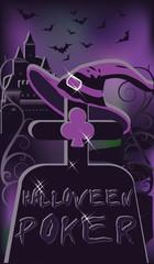 Halloween poker cemetery, vector illustration