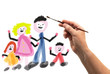 famiglia disegnata ad acquerello