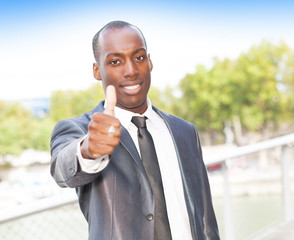 Businessman in successful gesturing