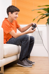 Gamer with joystick.