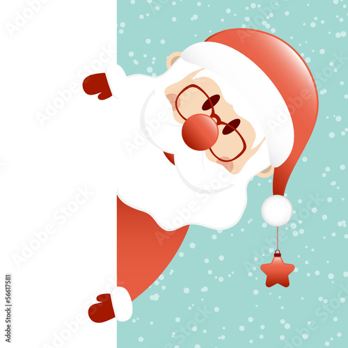 Santa Glasses & Beard Star Banner Retro