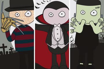Halloween. Freddy Krueger, Dracula y Frankenstein.