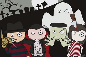 Halloween. Personajes terroríficos en cementerio.